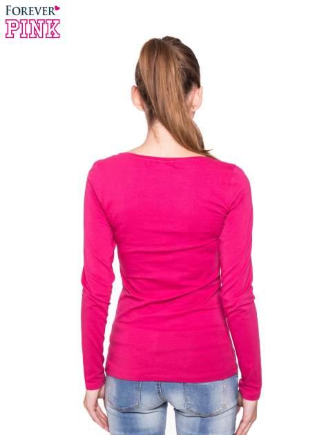 Różowa gładka bluzka z długim rękawem                                  zdj.                                  3