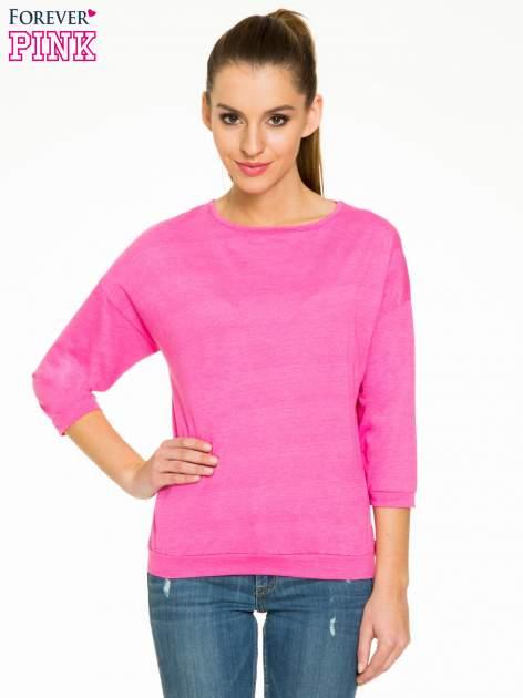 Różowa gładka bluzka z luźnymi rękawami 3/4                                  zdj.                                  1