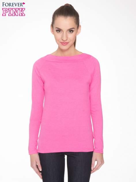 Różowa gładka bluzka z reglanowymi rękawami                                  zdj.                                  1