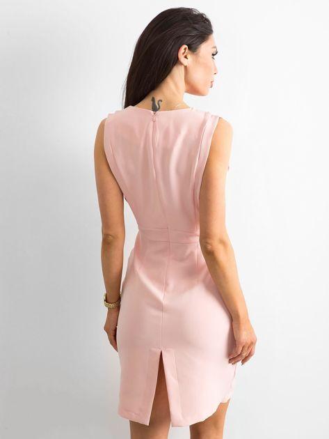 d4a2f6960e Różowa gładka sukienka koktajlowa - Sukienka koktajlowa - sklep ...