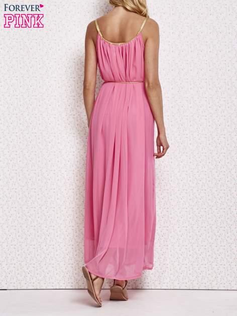 Różowa grecka sukienka maxi ze złotym paskiem                                  zdj.                                  4
