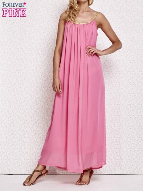 Różowa grecka sukienka maxi ze złotym paskiem                                  zdj.                                  6