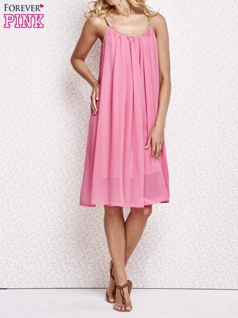 Różowa grecka sukienka ze złotym paskiem                                  zdj.                                  6