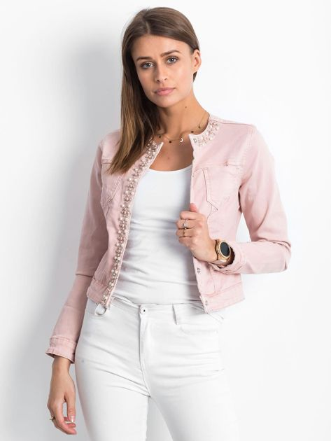 Różowa jeansowa kurtka z aplikacją                              zdj.                              1