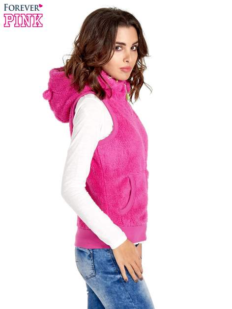 Różowa kamizelka z polaru z kapturem z uszkami                                  zdj.                                  3