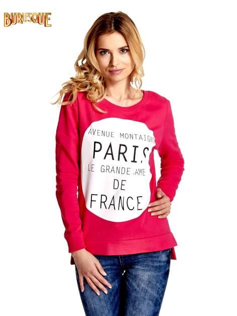 Rózowa klasyczna bluza damska z napisem AVENUE MONTAIGNE                                  zdj.                                  1