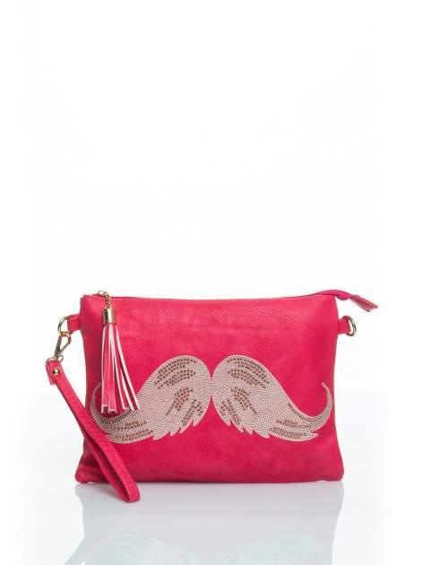 Różowa kopertówka z dżetami motyw wąsów