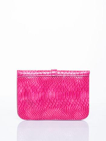 Różowa kopertówka z motywem skóry krokodyla                                  zdj.                                  2