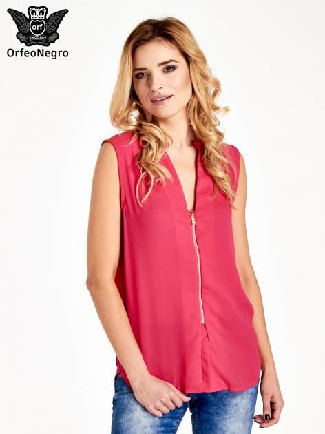 Różowa koszula V-neck z suwakiem                                  zdj.                                  1
