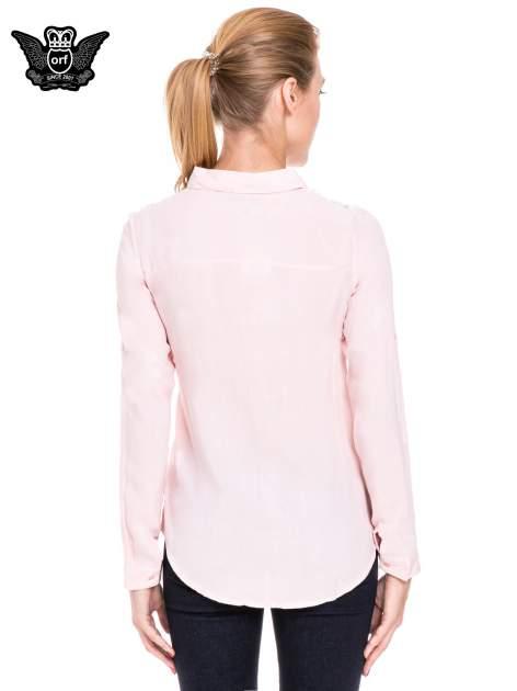 Różowa koszula damska z koronkową górą                                  zdj.                                  4