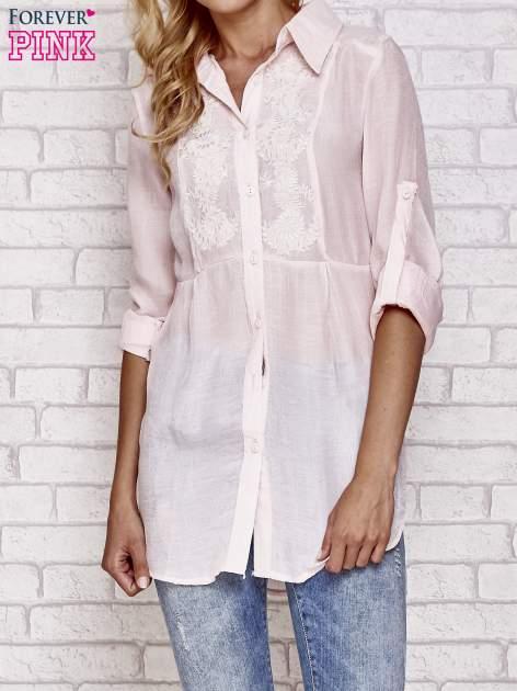 Różowa koszula hippie z haftem                                  zdj.                                  1