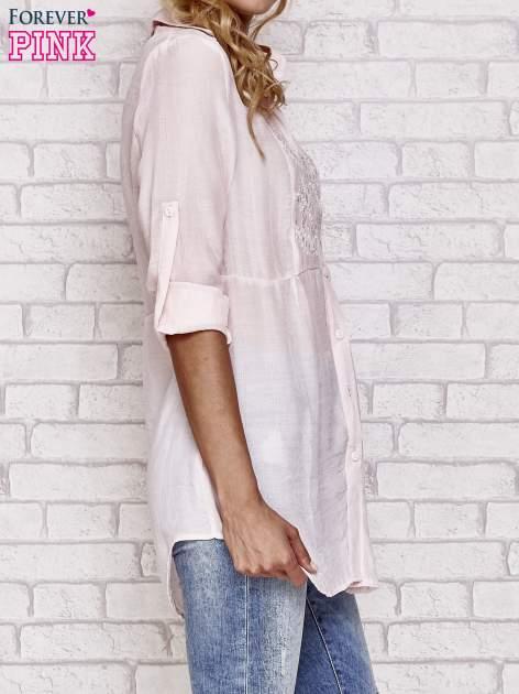 Różowa koszula hippie z haftem                                  zdj.                                  3
