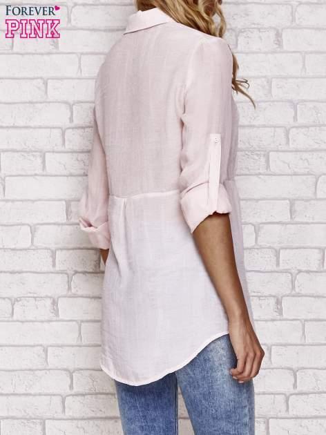Różowa koszula hippie z haftem                                  zdj.                                  4