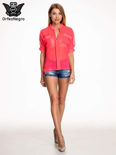 Różowa koszula mgiełka z kieszonkami                                  zdj.                                  2
