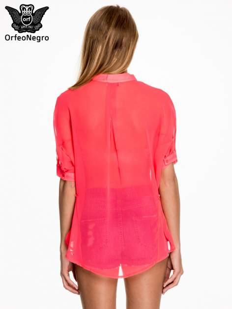 Różowa koszula mgiełka z kieszonkami                                  zdj.                                  4