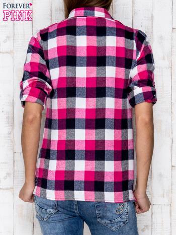 Różowa koszula w kratę z kieszonką                              zdj.                              4