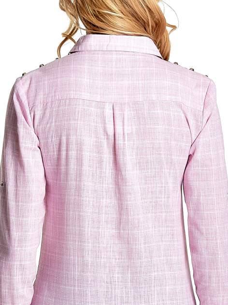 Różowa koszula w kratę ze wstawkami na ramionach i patkami z denimu                                  zdj.                                  8