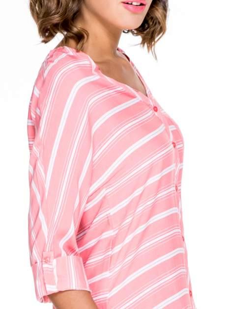 Różowa koszula w paski z rękawem 3/4                                  zdj.                                  6