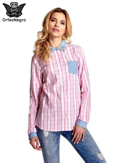 Różowa koszula w pasy z kołnierzykiem, mankietami i kieszonką z jasnego denimu                                  zdj.                                  1