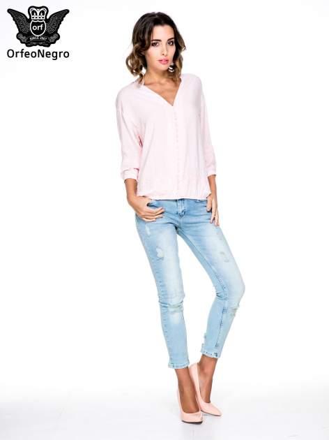 Różowa koszula w stylu boho z kwiatowym haftem                                  zdj.                                  2