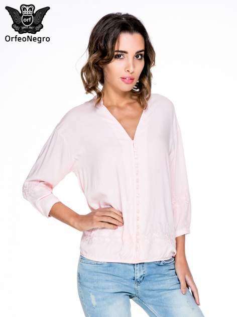 Różowa koszula w stylu boho z kwiatowym haftem                                  zdj.                                  1