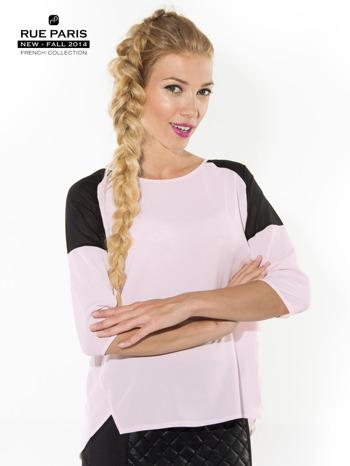 Różowa koszula z czarnymi wstawkami na ramionach i rękawem 3/4                                  zdj.                                  2