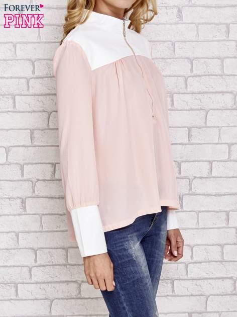 Różowa koszula ze skórzanymi pikowanymi wstawkami                                  zdj.                                  4