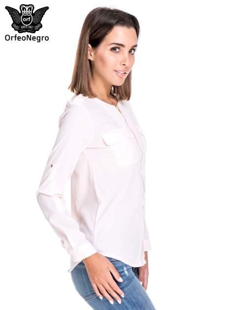 Różowa koszula ze złotym suwakiem i kieszonkami                                  zdj.                                  3