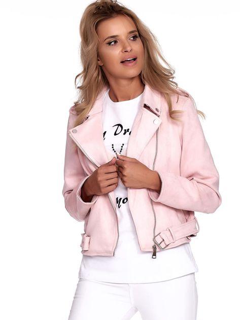 Różowa kurtka ramoneska damska                              zdj.                              5