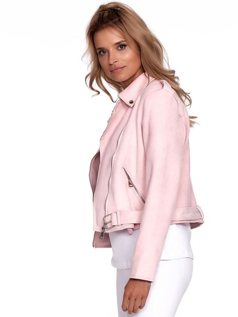 Różowa kurtka ramoneska damska                              zdj.                              7