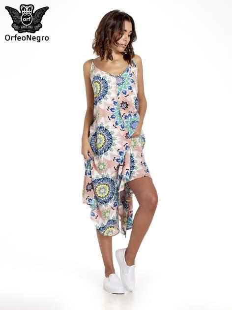 Rożowa letnia sukienka w kwiaty                                  zdj.                                  1