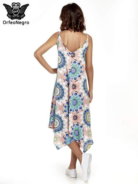 Rożowa letnia sukienka w kwiaty                                  zdj.                                  4