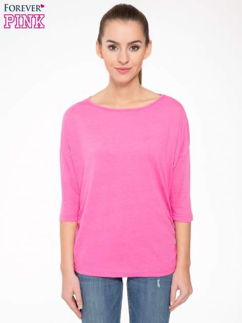Różowa luźna bluzka z rękawem 3/4                                  zdj.                                  1