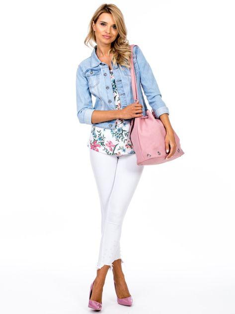 Różowa miękka torba ze ściągaczem                              zdj.                              5