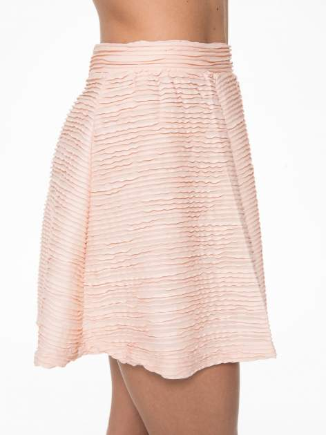 Różowa mini spódnica skater z fakturą                                  zdj.                                  8
