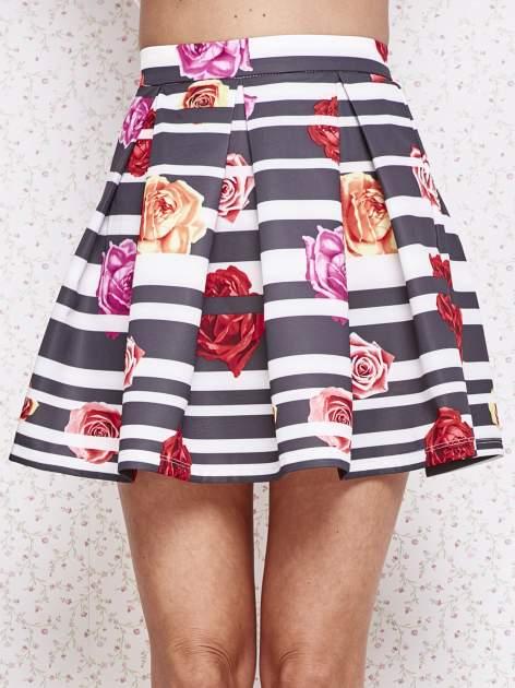 Różowa minispódnica z kontrafałdami w kwiaty                                  zdj.                                  1