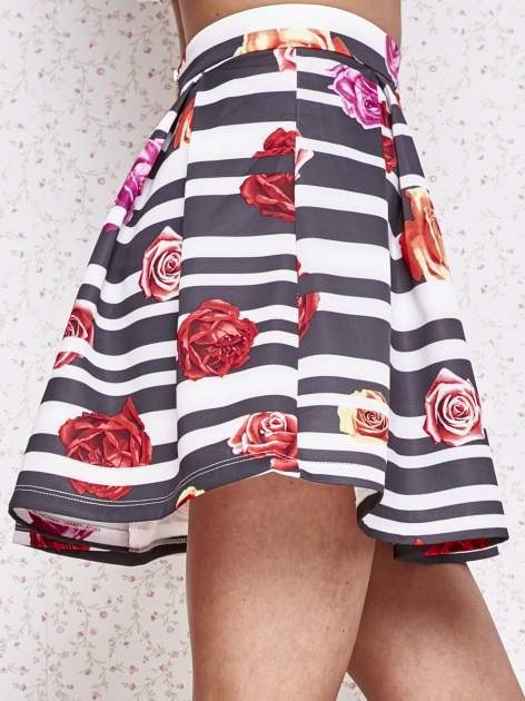 Różowa minispódnica z kontrafałdami w kwiaty                                  zdj.                                  5