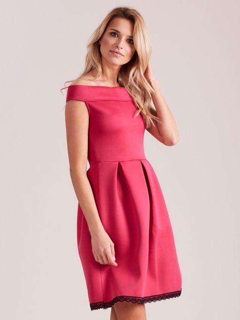 Różowa rozkloszowana sukienka z pianki                              zdj.                              3