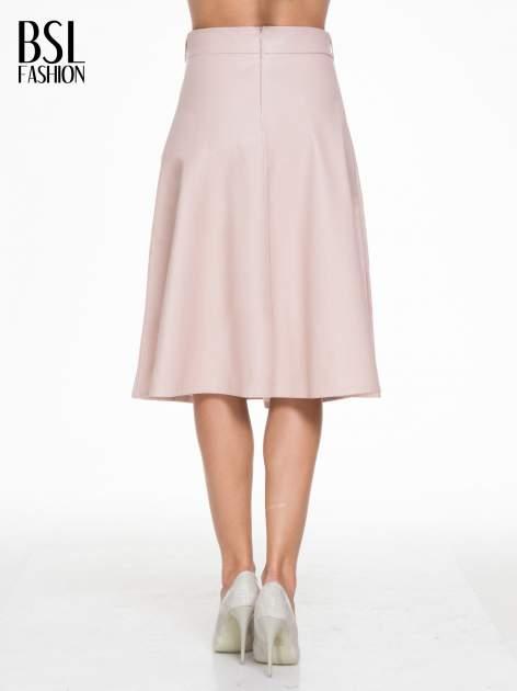 Różowa skórzana spódnica midi szyta z półkola                                  zdj.                                  4
