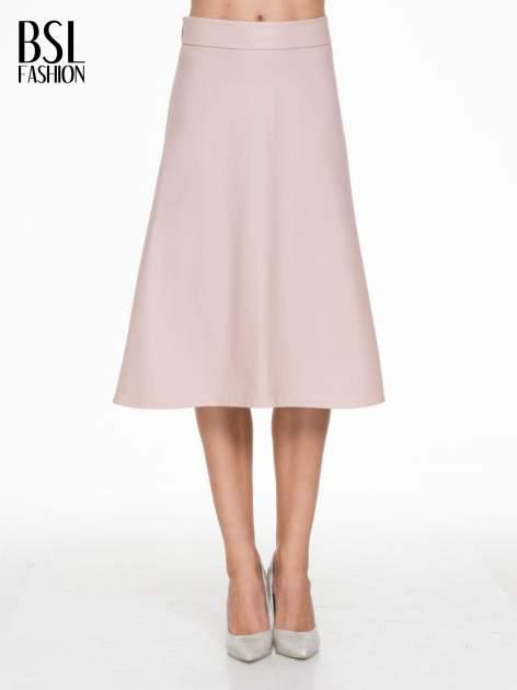 Różowa skórzana spódnica midi szyta z półkola