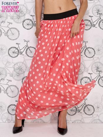 Różowa spódnica maxi w białe grochy                                  zdj.                                  2