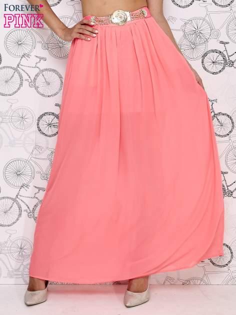 Różowa spódnica maxi ze złotym zapinannym paskiem                                  zdj.                                  2