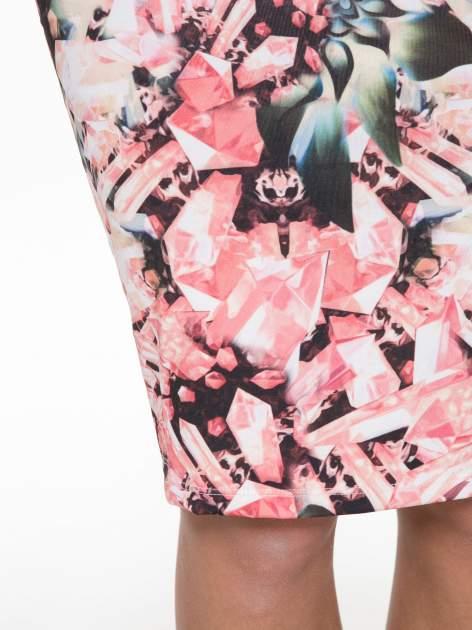Różowa spódnica ołówkowa z nadrukiem diamond print                                  zdj.                                  9