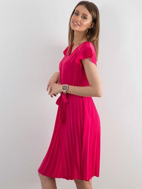 Różowa sukienka damska z wiązaniem                              zdj.                              3