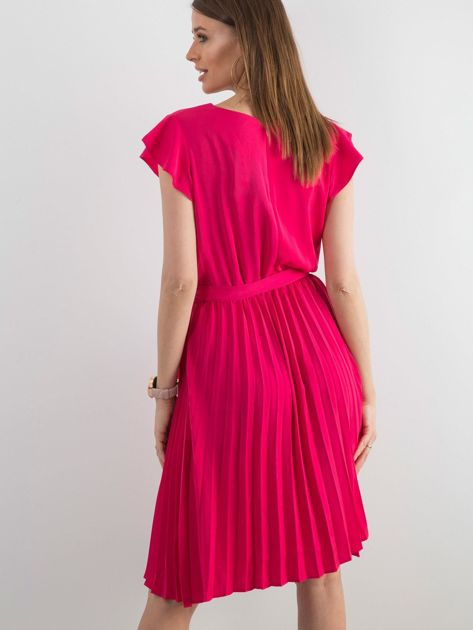 Różowa sukienka damska z wiązaniem                              zdj.                              2
