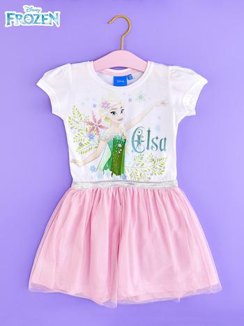 Różowa sukienka dla dziewczynki z brokatowym paskiem FROZEN                                  zdj.                                  1