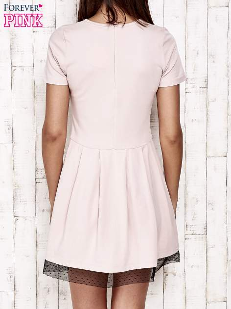 Różowa sukienka dresowa z tiulem w groszki                                  zdj.                                  4