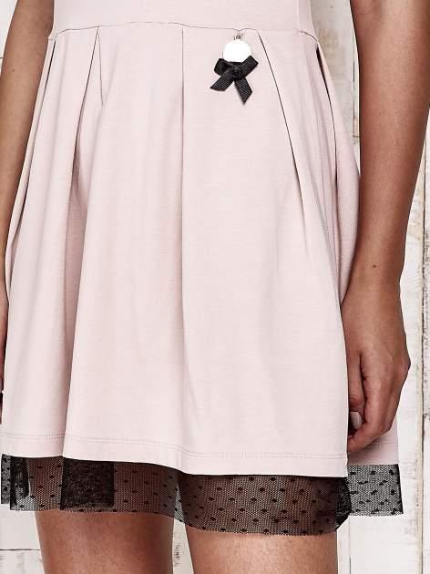 Różowa sukienka dresowa z tiulem w groszki                                  zdj.                                  5