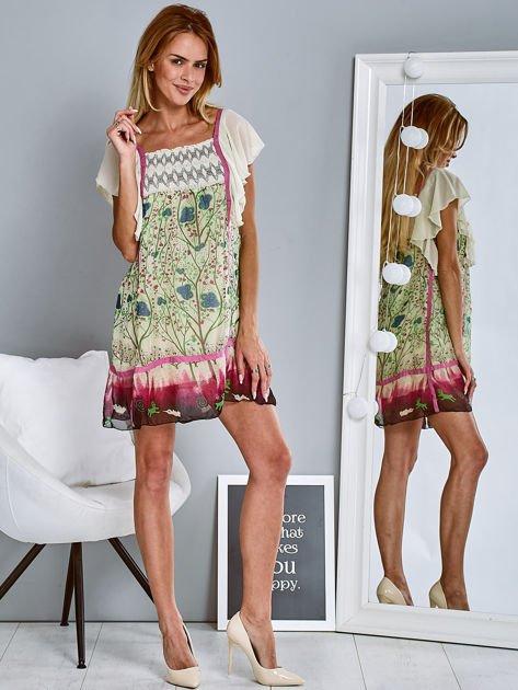 Różowa sukienka letnia mgiełka w kwiaty                                  zdj.                                  4