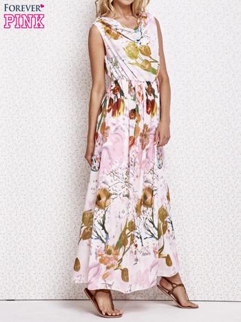 Różowa sukienka maxi w kwiaty                                  zdj.                                  3